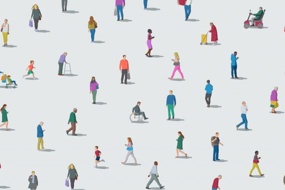 Diverse people social distancing.