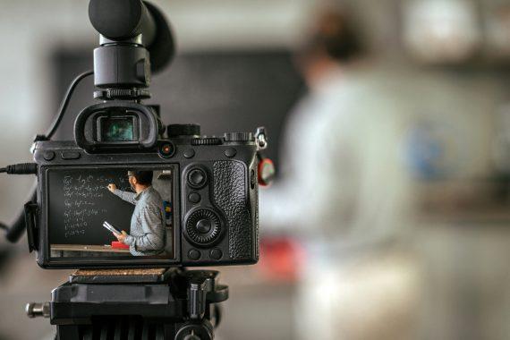 Recording educational video tutorial for vlog.